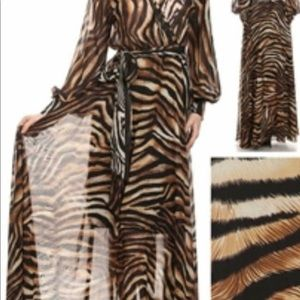 Sheer Leopard Print Maxi Dress
